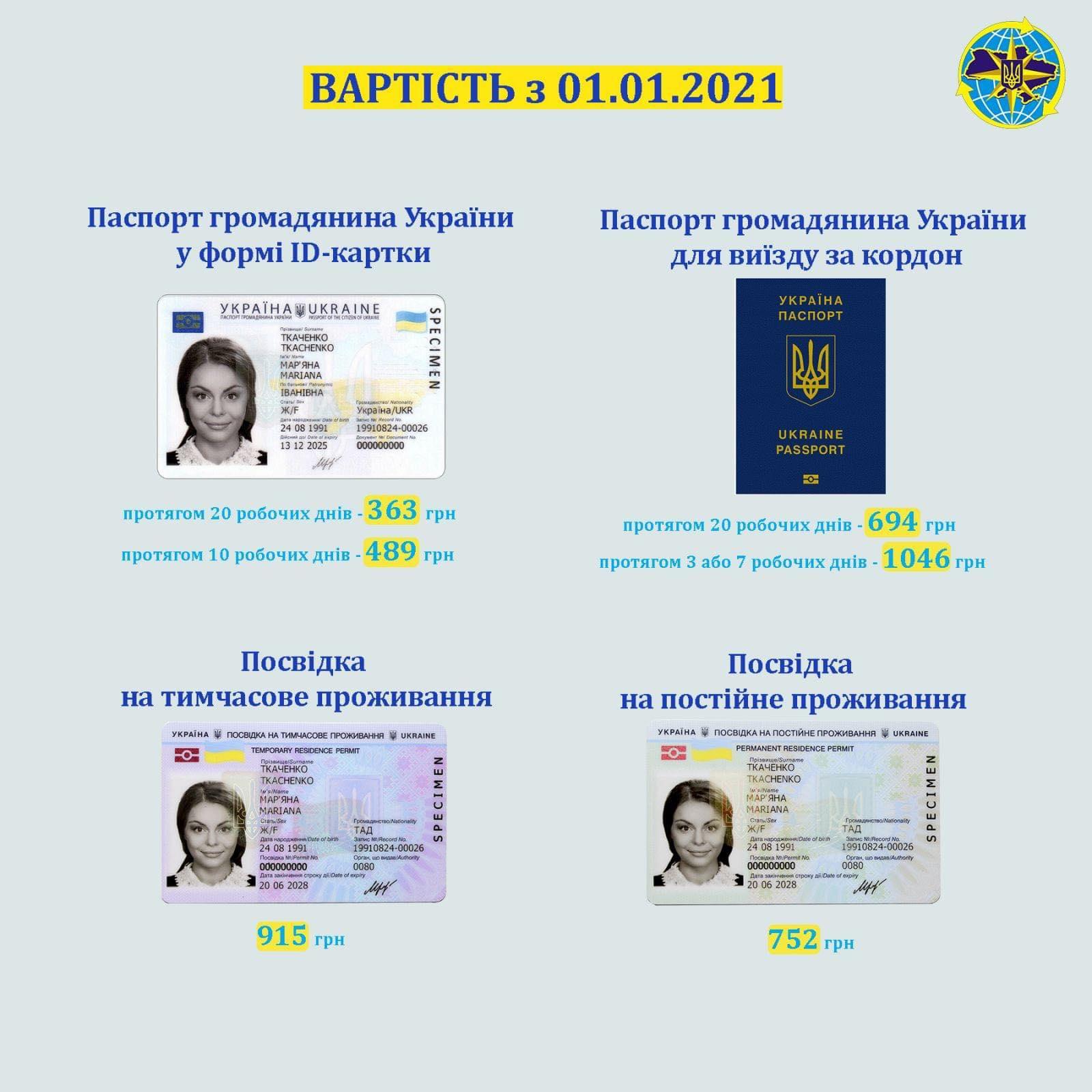 134929785 730654311199517 986026272521052844 n З 1 січня збільшиться вартість оформлення біометричних документів